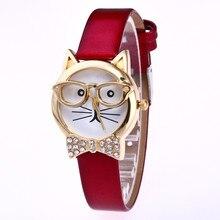 лучшая цена NEWColor Cartoon Cat Cute Children Watch Fashion Princess Leather Strap Quartz Watch Kids Girls Student Casual Clock Relogio