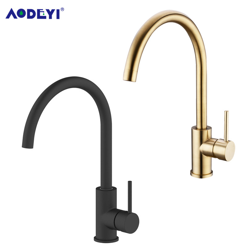 AODEYI Kitchen Faucet Black Brass 360 Degree Hot And Cold Kitchen Water Tap Mixer Dual Sink