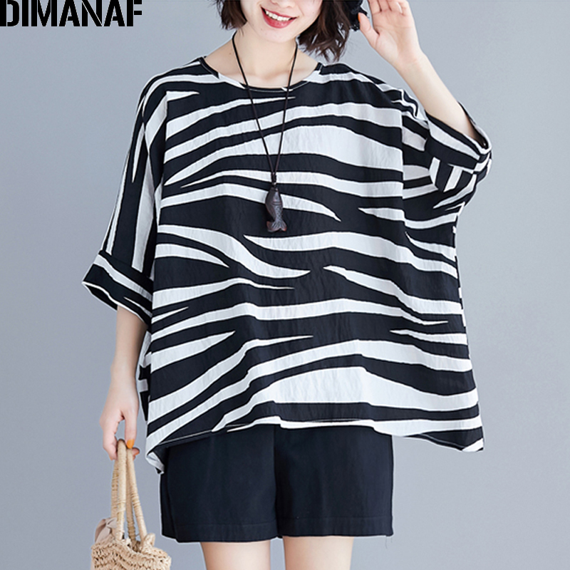 DIMANAF Plus Size Women   Blouse     Shirts   Cotton Big Size Summer Lady Tops Tunic Batwing Striped Loose Casual Female Clothes 5XL 6XL