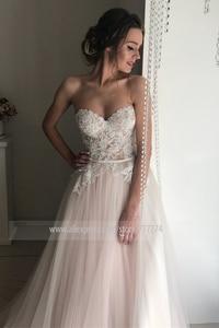 Image 3 - 아가씨 neckline a 라인 레이스 applique tulle 웨딩 드레스와 backless 지퍼 벨트 신부 드레스 vestido de novia