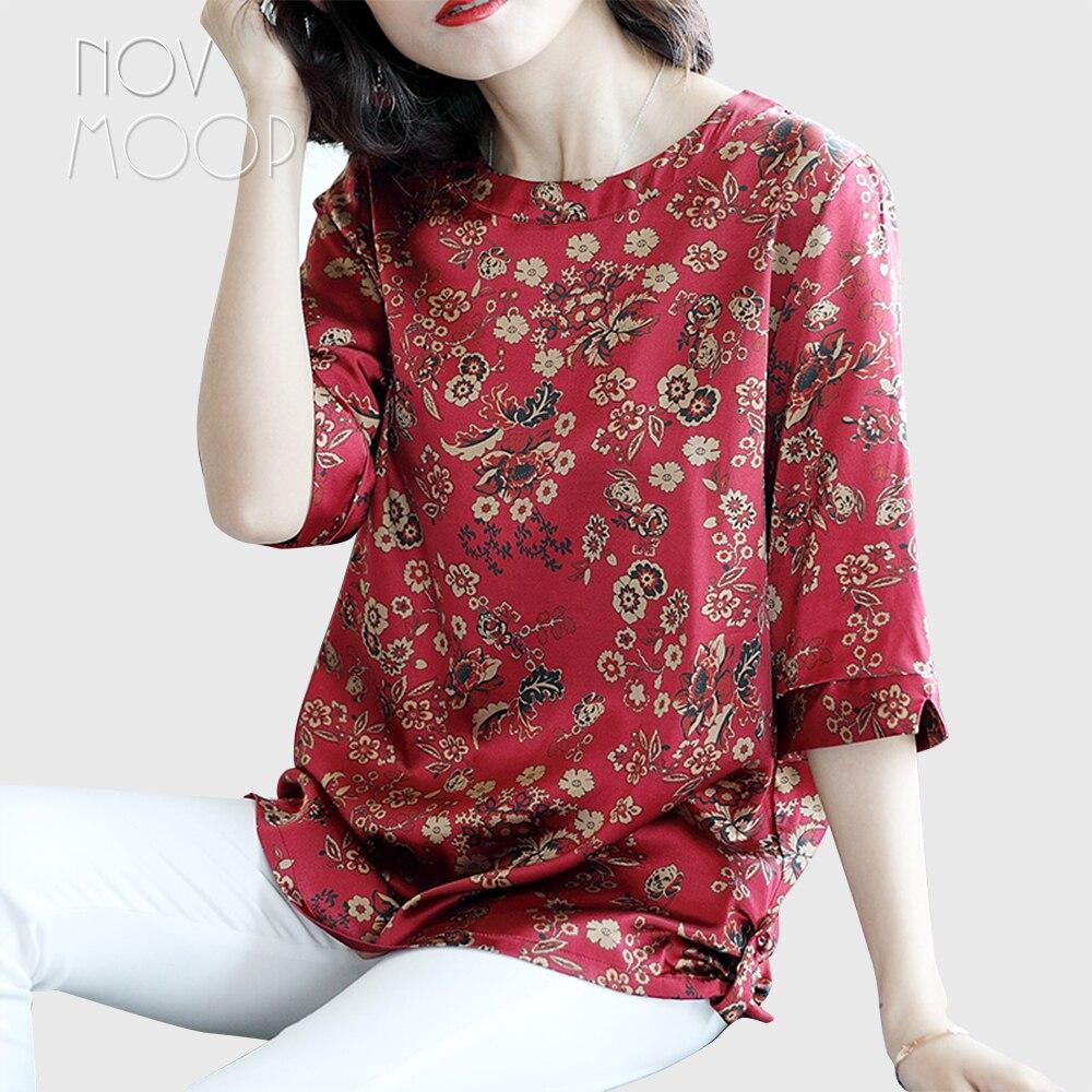 Femmes été printemps boho imprimé floral vert rouge soie naturelle t shirt hauts grande taille 1/2 manches stretch soie camisa ropa LT2263