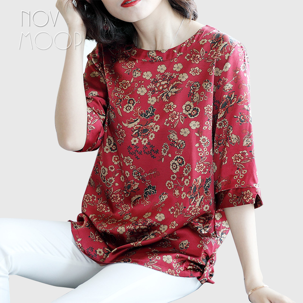 Women summer spring boho floral print green red natural silk t shirt tops plus size 1/2 sleeve stretch silk camisa ropa LT2263