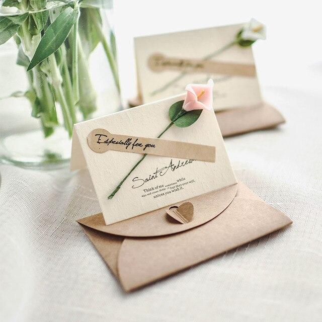 1pc kraft paper creativity real flower pop up card wedding