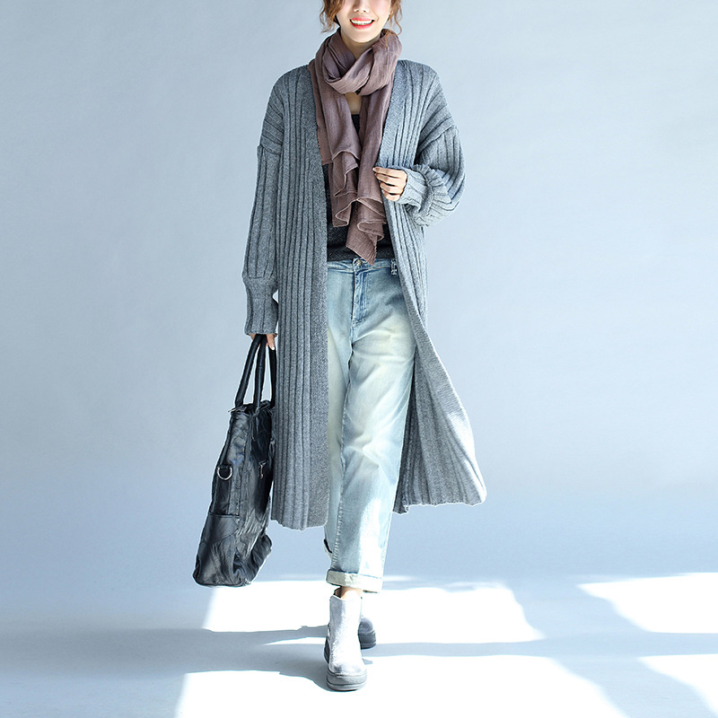 Johnature Solid Color Cardigan Knitting Women Long   Trench   Casual Loose 4 Colors Plus Size 2019 New Spring Winter Women Coats