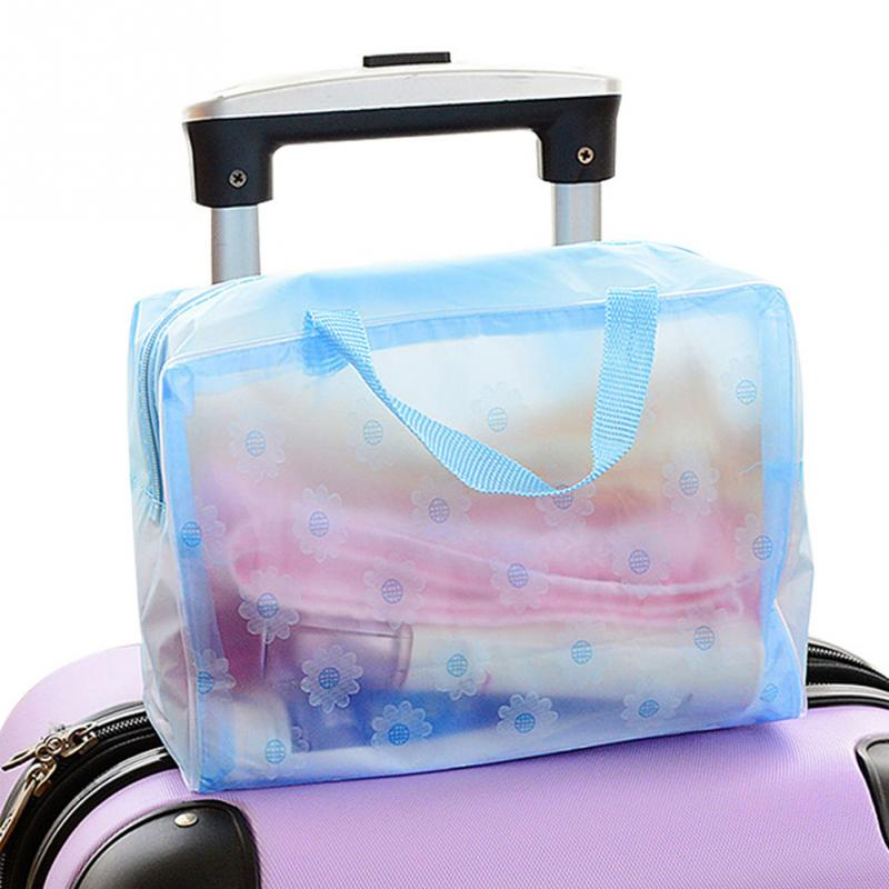 Fashion Sundries towel cosmetics Organizer Storage Bag Women Waterproof Transparent Floral Print Make up Bag For Travel Swimming