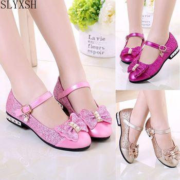SLYXSH  Children Princess Shoes Girls Sequins Wedding Party Kids Dress for Pink / Rose Red/ Gold shoes