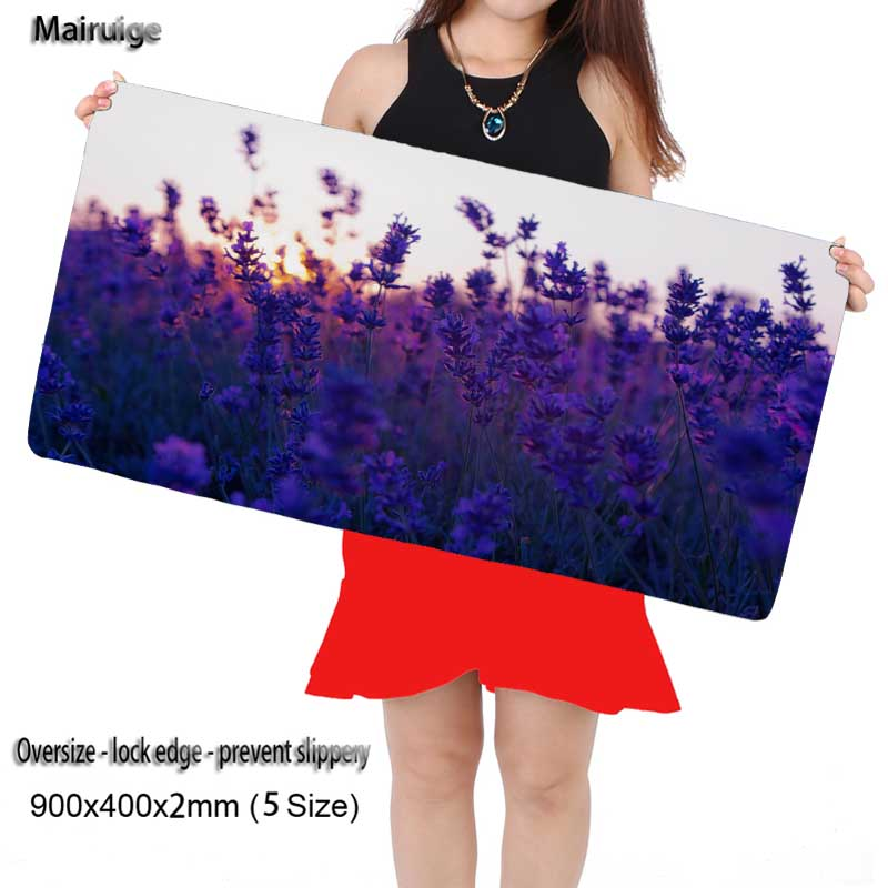 Mairuige Purple Lavender Large 900*400mm Speed Locking Edge Keyboards Mat Rubber Gaming Mousepad Desk Mat for Cs Go DOTA2 Gift