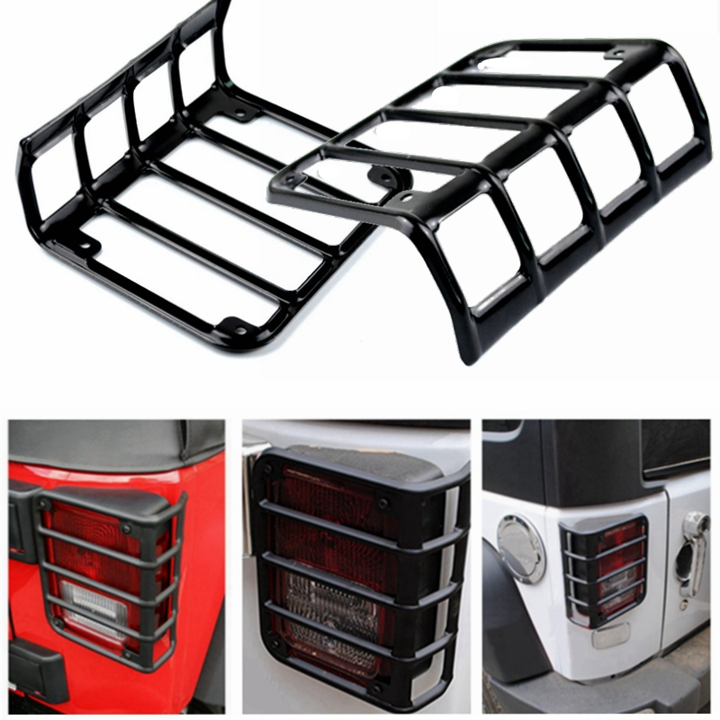 For 2007 - 2016 Jeep Wrangler JK Unlimited Black Tail Light Guard For Rear lights Taillights Cover taillight light guard cover for 2007 2017 jeep wrangler accessories jk unlimited pair
