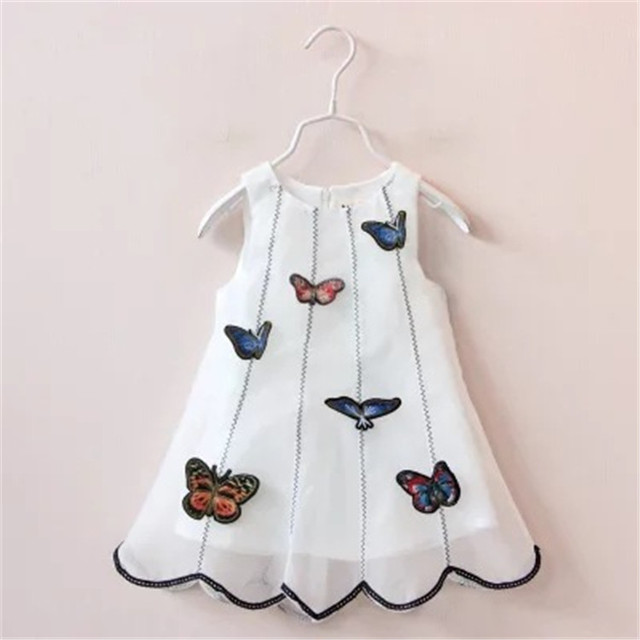 697e6384c68e 2016 Kids summer Children Girls Cartoon Butterfly Dress Baby Yarn TUTU  Princess Dress Toddler Sleevelss white A Sundress