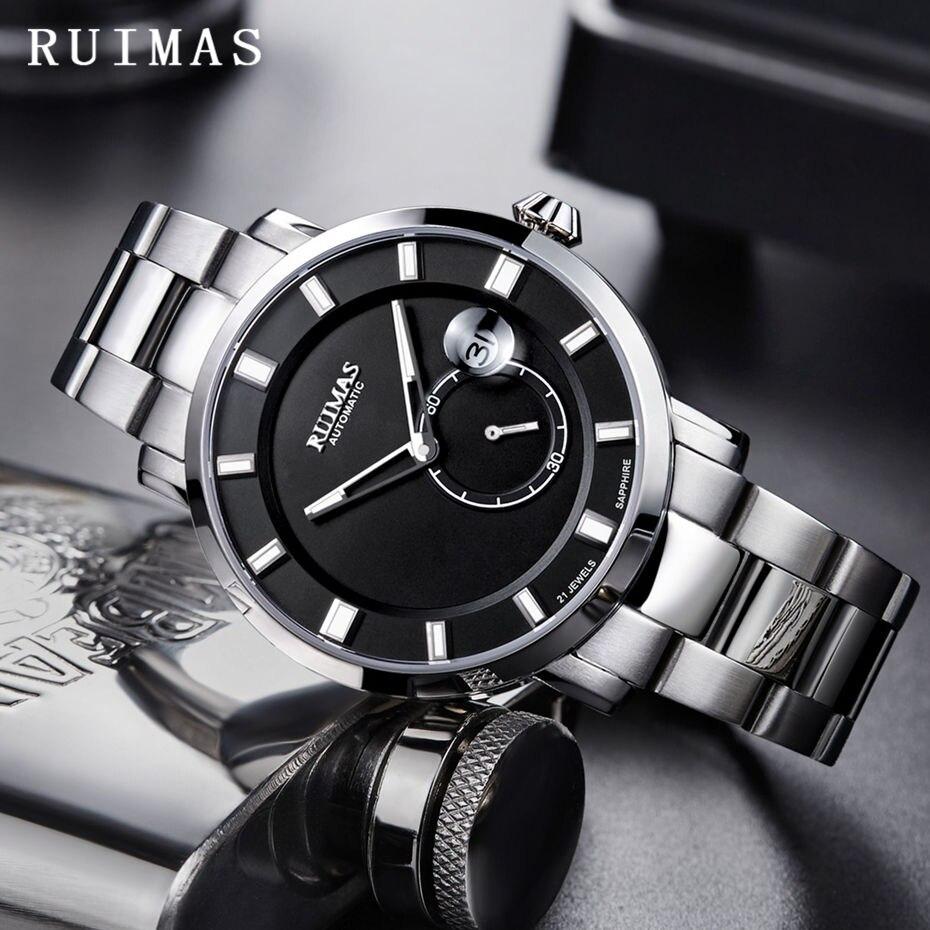 Ruimas 남자 클래식 비즈니스 reloj hombre 2018 자동 기계식 시계 럭셔리 시계 남성 손목 시계 miyota movement 8218-에서기계식 시계부터 시계 의  그룹 1