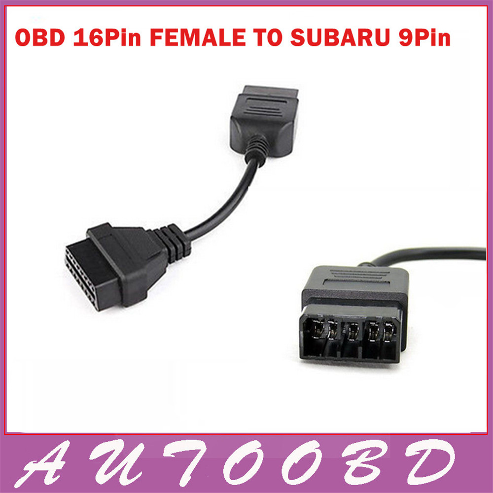 SUBARU 9 Pin 9Pin Male to OBD OBD2 OBDII DLC 16 Pin 16Pin Female Car Diagnostic Tool Adapter Converter Cable