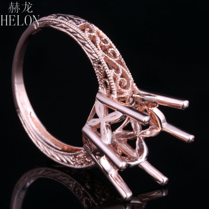 HELON Round 11-12mm Semi Mount Art Deco Antique style Ring Solid 14k Rose Gold Engagement Wedding For Womens Jewelry Fine Ring