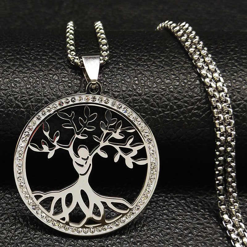 2019 Tree of Life Crystal Stainless Steel Necklaces for Women Silver Color Statement Necklace Jewelry acero inoxidable K77490B