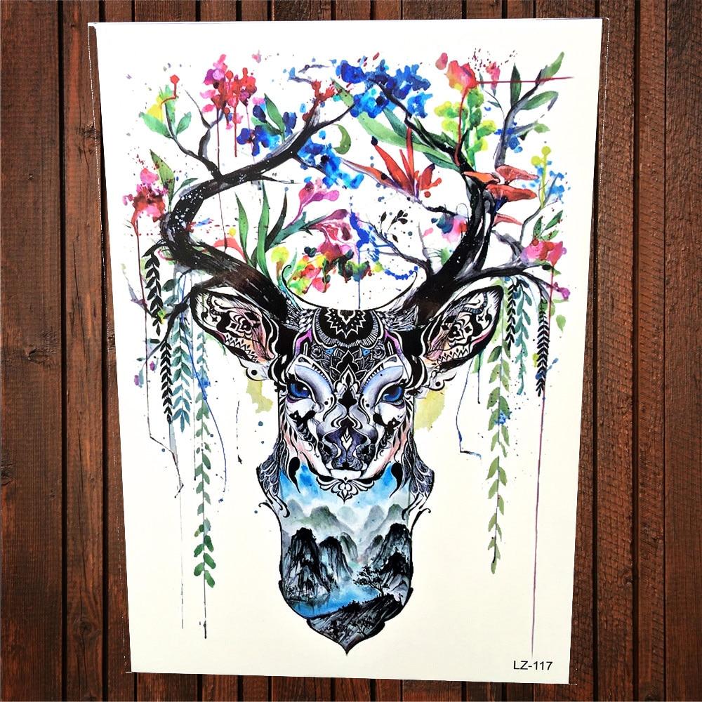 Floral Antler Tattoo: Henna Deer Horn Temporary Tattoo Sticker Women Watercolor