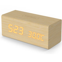 Baldr Digital Wooden Alarm Clock LED Touch Dimmable Home Temperature Calendar Display Thermometer Desktop WoodTable Snooze Clock
