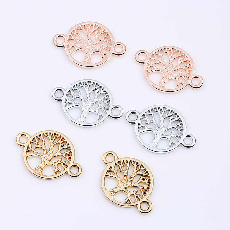 30pcs/lot Gold Silver Color Life Tree Charms Fit Bracelet Connector Charm Bracelet Necklace for DIY Handmade Jewelry Making