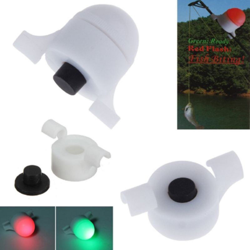 10PCS/lot Night Fishing Bite Alarm Rod Flashlight Tip LED Light Fish Fishing Bell With Button Battery Dropping Shipping Outdoor