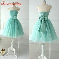 In Stock Blue Short Prom Dresses Strapless Off The Shoulder Tulle Pleat Bandage Dresses Lovely Girl