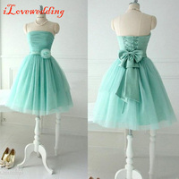 In Stock Blue Short Prom Dresses Strapless Off the Shoulder Tulle Pleat Bandage Dresses Lovely Girl'sv Prom Gown with Bow Cheap