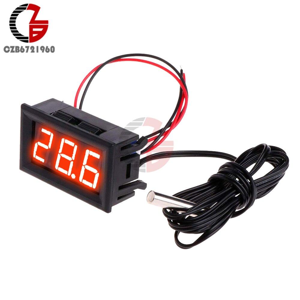 "5V 12V 0.56"" LED Digital Thermometer Car Indoor Outdoor Incubator Acquarium Temperature Sensor Meter Weather Station Monitor"