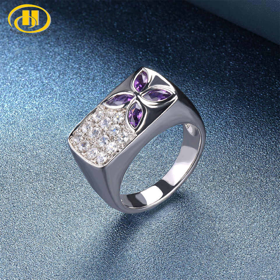 Hutang Engagement Ring Natural Gemstone Amethyst Topaz Solid 925 Sterling Silver Fine Fashion Stone Jewelry For Female Gift New hutang engagement ring natural gemstone amethyst topaz solid 925 sterling silver heart fine fashion stone jewelry for gift new