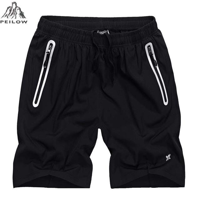 PEILOW men elastic waist shorts Outwear men summer light zipper casual beach board shorts casual shorts men Trouser size L~6xl