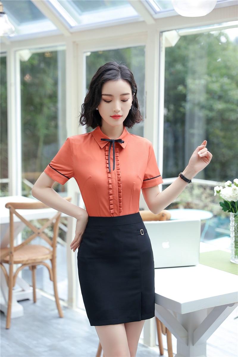Formal OL Styles 2 Piece Tops And Skirt Novelty Orange 2018 Summer Short Sleeve Women Office Wear Blouses & Shirts Sets