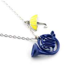 HIMYM How I Met Your Mother Statement Necklace Yellow Umbrella Blue French Horn Pendent Necklace Gift For Fans Collier Femme(China)