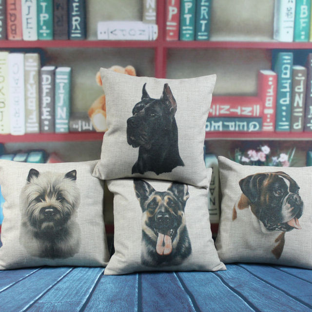 """LINKWELL 18""""x18"""" 1PC World Famous Dog Cute Pet Norwich Terrier Boxer Black German Dog Wolfhound Burlap Pillowcase Cushion Cover"""