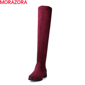 Image 2 - MORAZORA Winter new arrive high quality womens boots fashion shoes sexy flock warm well women knee high boots woman