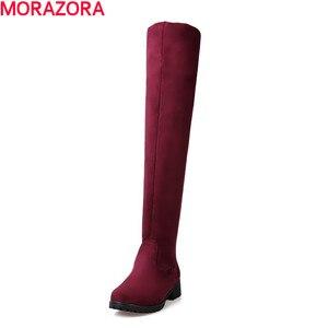 Image 2 - MORAZORA חורף חדש מגיע באיכות גבוהה נשים מגפי אופנה נעליים סקסי צאן חם גם נשים הברך גבוהה מגפי אישה