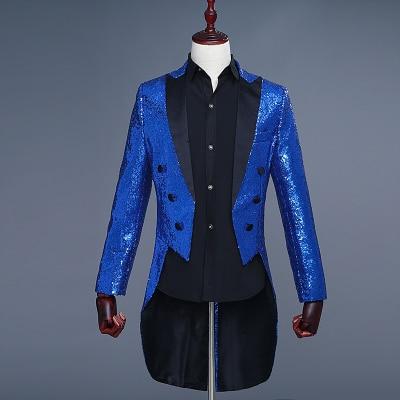 Freeship 100%real mens royal blue short/long full sequins tuxedo jacket/event/studio/sing/stage performance/dance/jacket