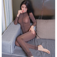 Sexy Women Zipper Open Turtleneck Bodysuit Shiny See Through Teddy Bodysuit Lingerie Catsuit Sexy Pantyhose Body
