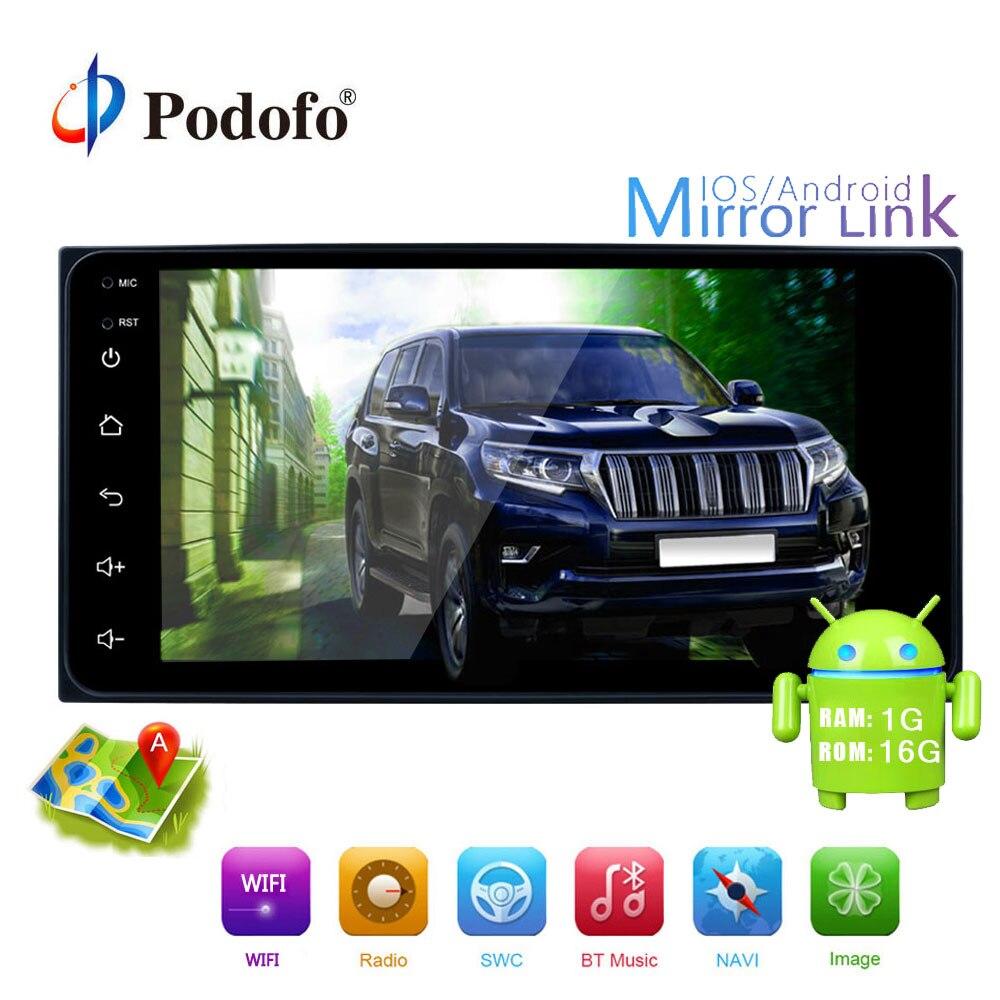 Podofo 2din Android Car Multimedia Player GPS WIFI 7 Car Radio Mirror link USB 2 din