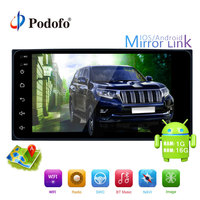 Podofo 2din Android Multimedia Player GPS Navigator WIFI Bluetooth 7 inch Car Radio Mirror link USB 2 din Autoradio For TOYOTA