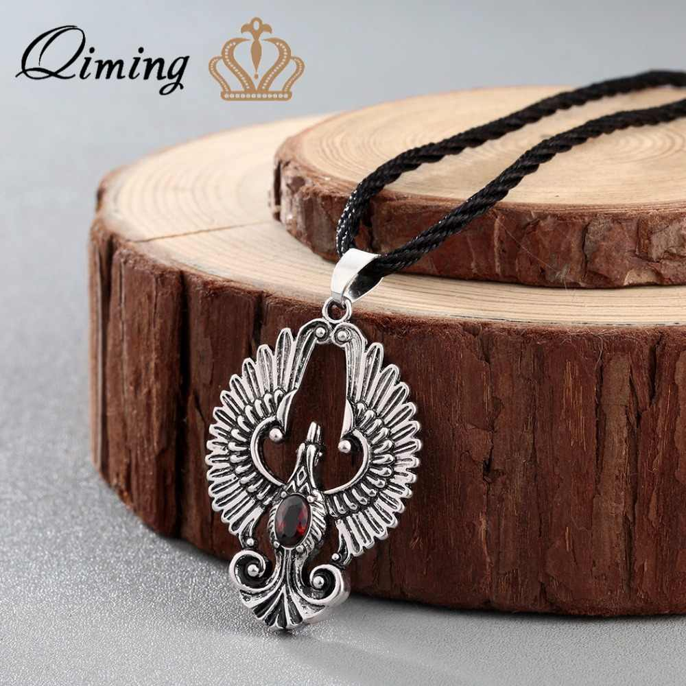 QIMING Phoenix Bird Pendant Necklace Chokers Eagle Pendant Beautiful phoenix birds Charm Women Jewelry Boyfriend Gift