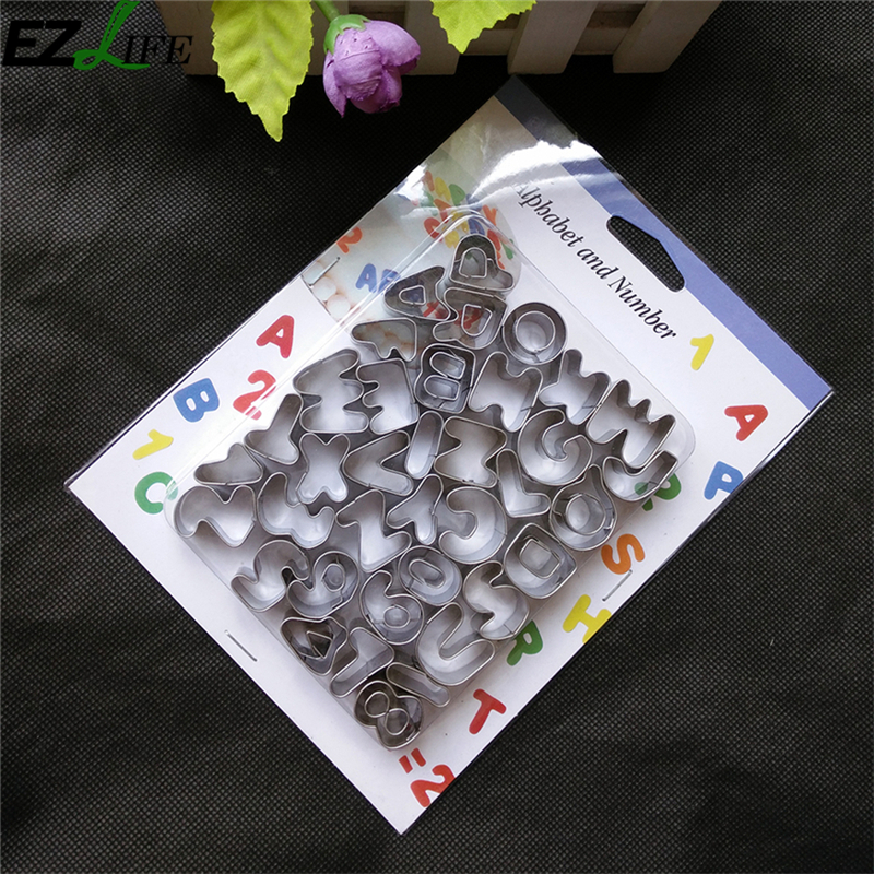 37pcs Set Stainless Steel Alphabet Cookie Cutter Mold Stencil Cake Decorating Tools Kitchen Diy