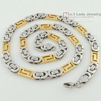 Silver Stainless Steel Flat Byzantine Chain Necklaces Bracelet Jewelry Set Jewellery Hip Hop Gift Wholesale Free