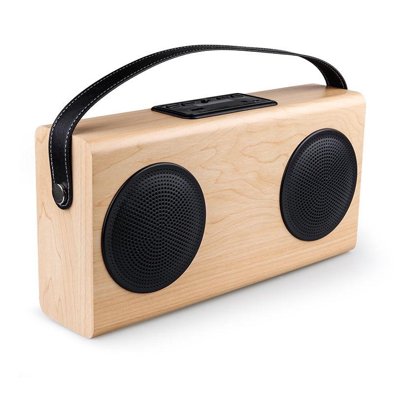 New wooden speaker altavoz bluetooth wood square Double Horn portable radio FM SD Power Bank hands-free call caixa de som free