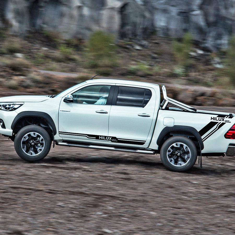 4PC/SET side door and rear trunk off road stripe graphic Vinyl pickup decals FOR TOYOTA HILUX VIGO REVO accessories stickers 2015 2017 car wind deflector awnings shelters for hilux vigo revo black window deflector guard rain shield fit for hilux revo