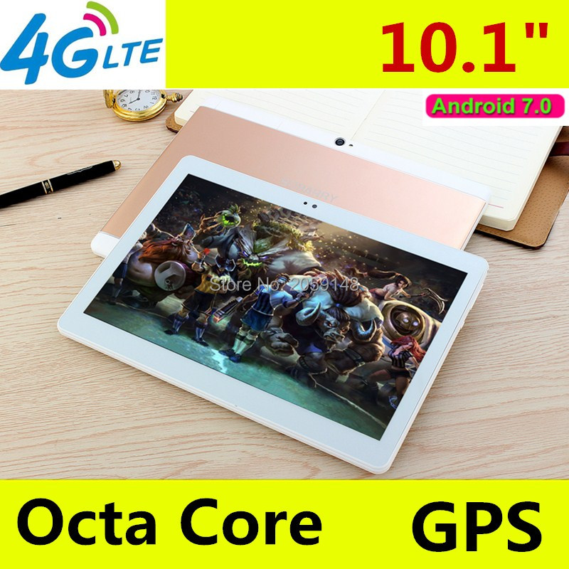 2017 Nouveau Android 7.0 octa base 10.1 pouce 3G 4G LTE tablet pc 1920*1200 IPS HD 8.0MP 4 GB RAM 64 GB ROM Bluetooth GPS Mini tablet