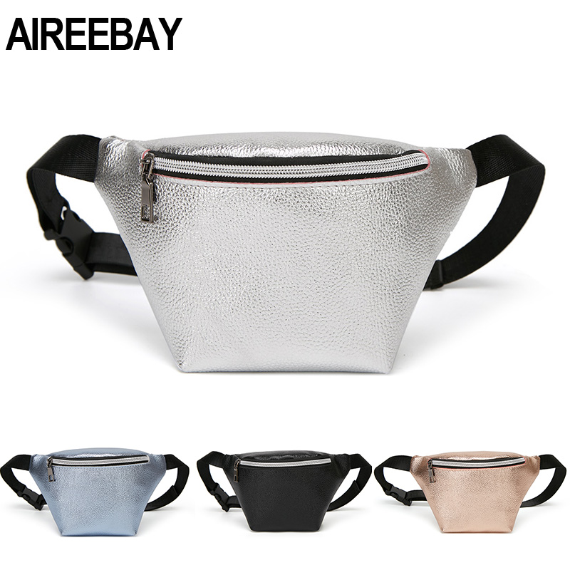 AIREEBAY Leather Waist Packs For Women Travel Fanny Pack Fashion Ladies Small Waist Bag For Phone Pouch Mini Chest Bag Girls