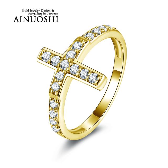 Ainuoshi 10 k sólido oro amarillo anillo de bodas sona diamante simulado joyería de bandas mujeres micro pave compromiso eternidad anillo bague