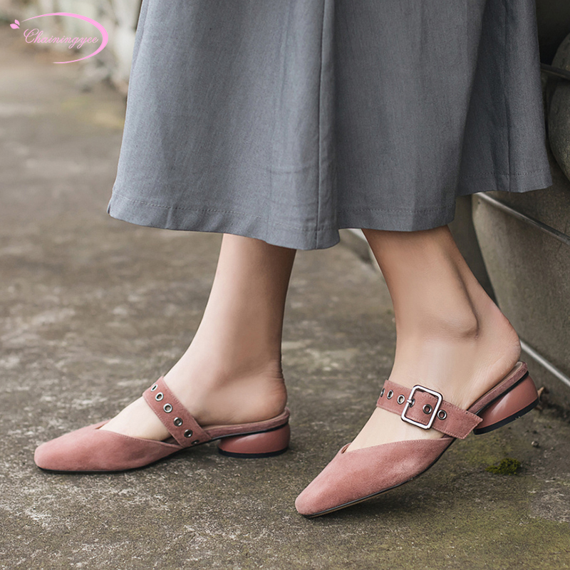 European street style sheep suede real leather summer mule shoes slippers buckle strap medium heel square women's shoes