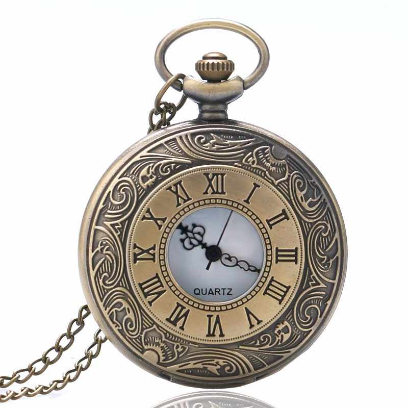Retro Bronze Engarve Roman Number Pocket Watch Antique Men Women Fob Watch With Necklace Chain Relogio De Bolso Gift