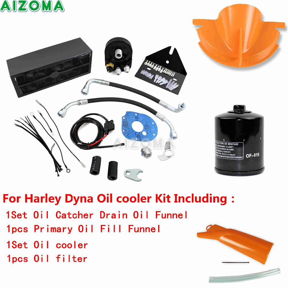 Free Shipping Motorcycle Reefer Oil Cooler Fan Cooling System Black Harley Touring Fuel Pump Wiring Harness Engine Kit For 1993 2017 Dyna Cvo In
