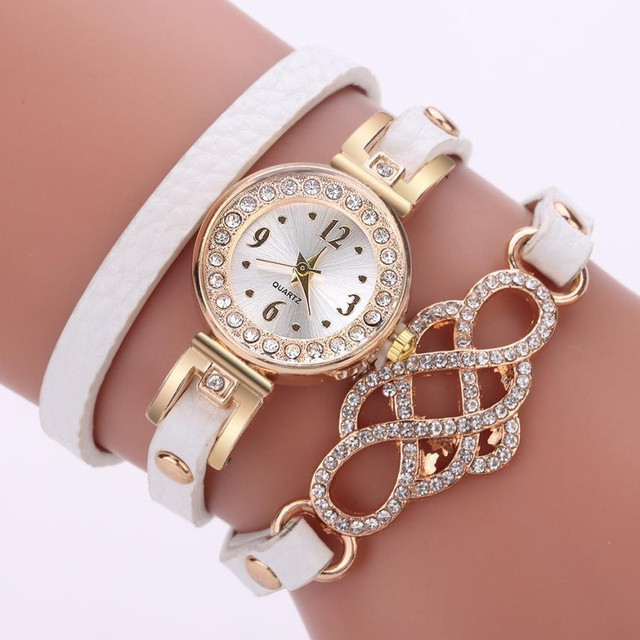 New Woman Plant Pattern Alloy Steel Strap Analog Quartz Round Bracelet Watch Wri