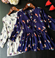 2016 autumn new cartoon round neck long-sleeved dress, cardigan splicing dress upper body bird world, for 2-6 year-old girl