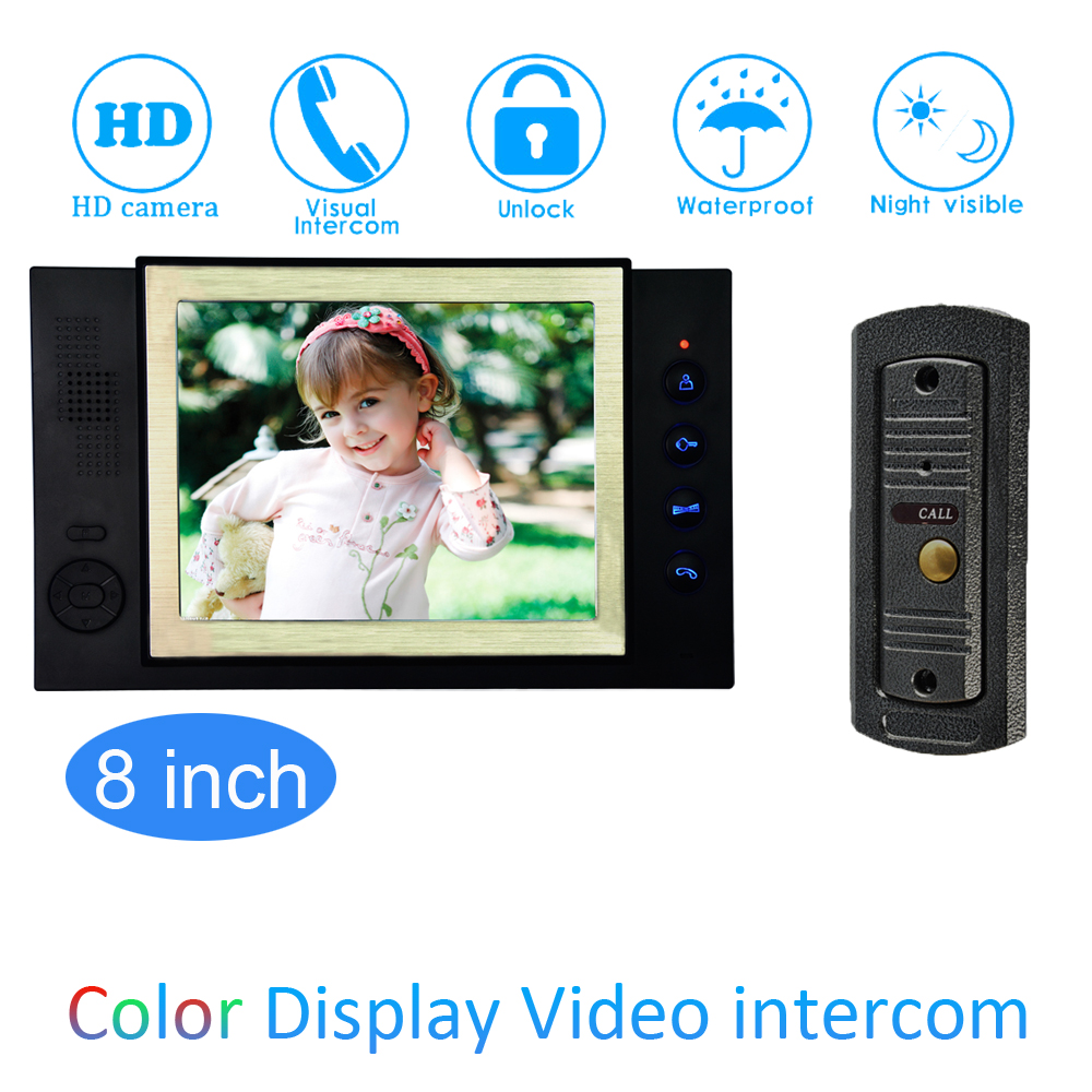 8'' Color LCD Video Door Phone House Garden Improvement Device Wire Doorbell Door Release Unlock Night Vision IR HD Camera