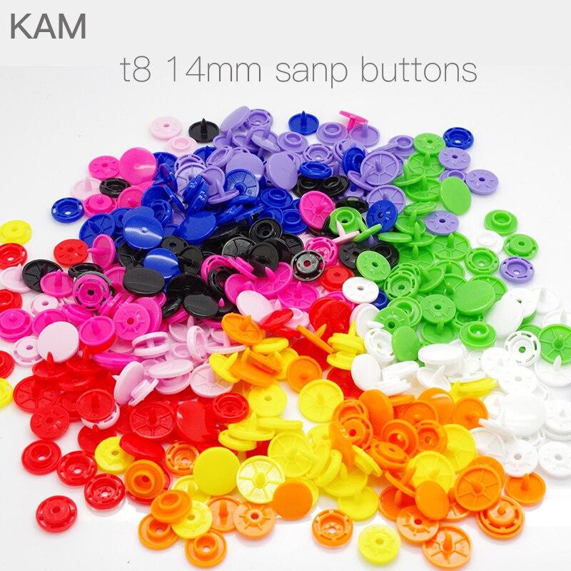 10 цветов KAM T8 14 мм 100 комплектов глянцевые пластиковые большие KAM круглые кнопки Крепления Кнопки подгузник DIY цвета смешанные длинные зубцы